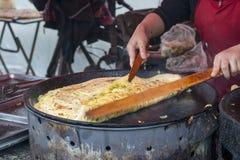 Ovo vegatable dan-Bing da panqueca do alimento da rua de Harbin fotografia de stock