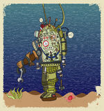 Ovoid diver. Deep-sea diver stands on the seabed near the crab and seaweed Royalty Free Stock Photos