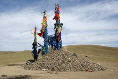 Ovoo in Mongolei Stockbild
