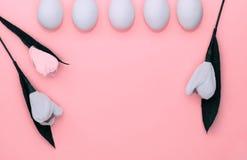 Ovos brancos da P?scoa na fileira e tulipas das flores no fundo cor-de-rosa De cima de, espa?o da c?pia, configura??o lisa imagens de stock royalty free