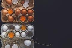 Ovos brancos e marrons frescos na caixa no fundo preto Foto de Stock Royalty Free