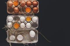 Ovos brancos e marrons frescos na caixa no fundo preto Imagens de Stock Royalty Free