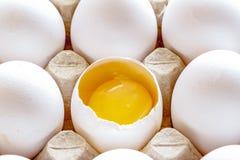 Ovos brancos e marrons na caixa com ovo quebrado imagem de stock