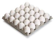 Ovos brancos e marrons na embalagem do cartão fotos de stock