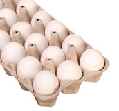 Ovos brancos na caixa isolada Foto de Stock Royalty Free