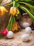 Ovos brancos na cesta marrom pequena com tulips Foto de Stock Royalty Free