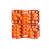 2017 ovos colocados da galinha no recipiente Imagens de Stock