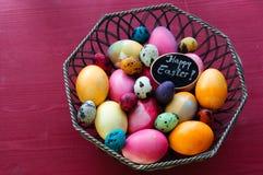Ovos coloridos da galinha e de codorniz Fotos de Stock
