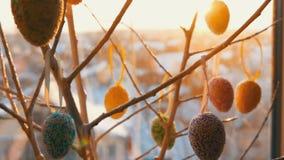 Ovos coloridos da Páscoa nos ramos decorativos brancos Um ramalhete à moda de suportes de ovos da páscoa na soleira no vídeos de arquivo