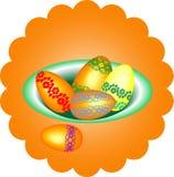 Ovos da páscoa em uma bacia, ilustração do vetor Imagens de Stock Royalty Free