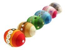 Ovos coloridos em uma fileira Imagem de Stock Royalty Free