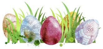 Ovos coloridos Páscoa da aquarela Foto de Stock Royalty Free