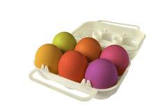 Ovos coloridos whith de Eggbox fotos de stock