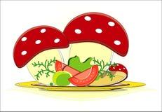 Ovos com tomate e vegetais Fotos de Stock Royalty Free
