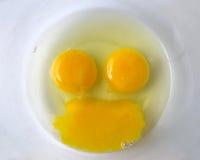 Ovos crus que formam um smiley/cara feliz Fotografia de Stock Royalty Free
