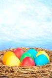 Ovos da cor em um ninho dourado Foto de Stock