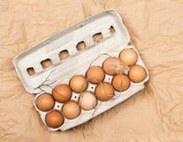 Ovos da exploração agrícola de Brown com palha & pena Foto de Stock Royalty Free