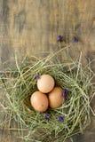 Ovos da galinha e de codorniz em uma caixa de madeira Estilo rústico Fotografia de Stock Royalty Free