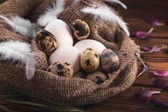 Ovos da galinha e de codorniz no pano de saco em um fundo de madeira Fotografia de Stock