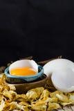Ovos da galinha e yolk de ovo quebrados imagem de stock