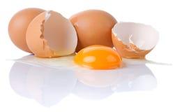 Ovos da galinha isolados no branco imagens de stock