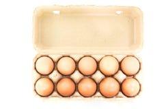 Ovos da galinha na caixa do ovo da polpa Imagens de Stock Royalty Free