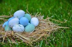 Ovos da páscoa bonitos em uma grama verde Imagem de Stock