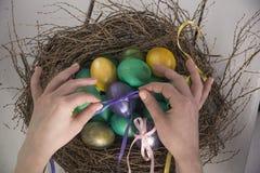 Ovos da páscoa coloridos Fotografia de Stock