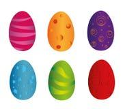 Ovos da páscoa coloridos ajustados com a reflexão isolada no fundo branco Ilustração do vetor ilustração do vetor