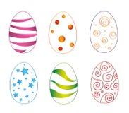 Ovos da páscoa coloridos ajustados com a reflexão isolada no fundo branco Ilustração do vetor ilustração stock