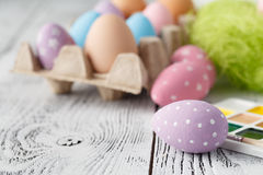 Ovos da páscoa coloridos cor pastel Fotos de Stock