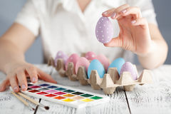 Ovos da páscoa coloridos cor pastel Fotografia de Stock Royalty Free