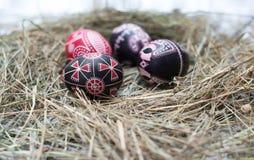Ovos da páscoa coloridos em uma cesta pequena Fundo da Páscoa, temas da mola Fotos de Stock