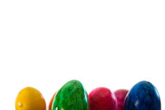 Ovos da páscoa coloridos no fundo branco Fotografia de Stock