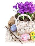 Ovos da páscoa com as flores da mola na cesta Foto de Stock