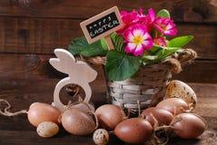 Ovos da páscoa com as flores de madeira do coelho e da prímula no potenciômetro Fotos de Stock Royalty Free