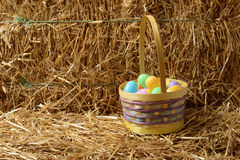Ovos da páscoa com cesta e palha Fotografia de Stock Royalty Free