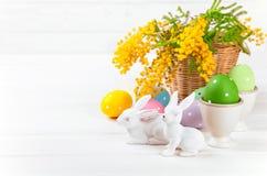 Ovos da páscoa com coelho e mimosa do ramo Foto de Stock Royalty Free