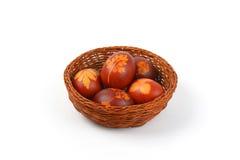 Ovos da páscoa com decoração do eco fotos de stock