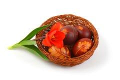 Ovos da páscoa com decoração do eco imagem de stock