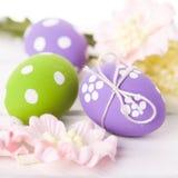 Ovos da páscoa com flores da mola Imagens de Stock