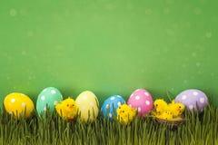 Ovos da páscoa com a galinha decorativa na grama fresca na parte traseira do verde Fotos de Stock Royalty Free