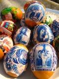 Ovos da páscoa agradáveis com imagens Imagem de Stock