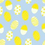 Ovos da páscoa com pontos e fundo sem emenda da cópia do teste padrão das listras ilustração royalty free