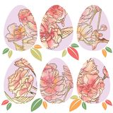Ovos da páscoa com testes padrões florais ilustração do vetor