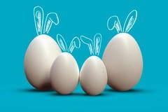Ovos da páscoa como a família de quatro pessoas, com as orelhas bonitos do coelho ilustração royalty free