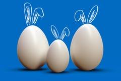 Ovos da páscoa como uma família de três, com as orelhas bonitos do coelho ilustração royalty free