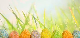 Ovos da páscoa da fileira com fundo da grama verde da mola fotografia de stock royalty free