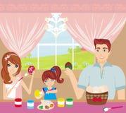 Ovos da páscoa da pintura da família ilustração do vetor
