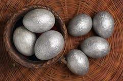 Ovos da páscoa de prata Imagens de Stock